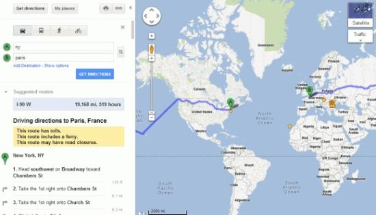 傻傻Google Maps 纽约到巴黎推荐横渡太平洋
