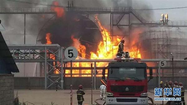 山东日照1000立方米液态烃球罐大爆炸:火光冲天
