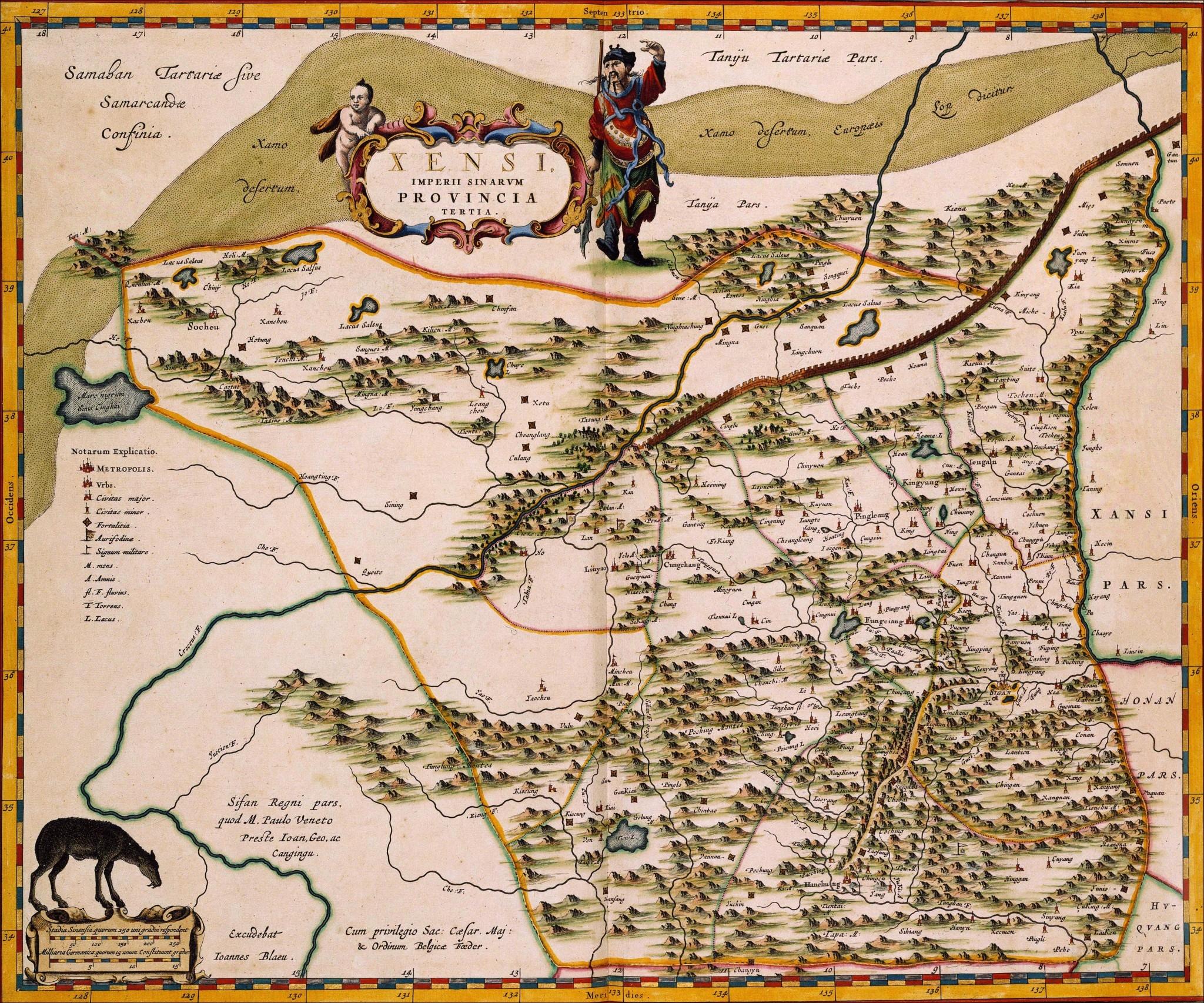 如今凭借各种科技手段,绘制浏览地图似乎很轻松,但是在古代,人们被束缚在大地上,制作地图的难度可想而知,但即便如此,古代人凭借自己的智慧和努力,仍然给我们留下了一笔笔宝贵的财富,无论中外。 近代史上,中外科技水平越拉越大,地图方面我们更是被甩了N条街。今天推荐的是,是一组极具收藏价值的地图《Atlas Maior》,来自荷兰制图学家Joan Blaeu,完成于1665年,分为11卷,总计包括594张地图,包括中国当时各个行省。 这些地图最初以拉丁文印制,具有经典的巴洛克风格,还绘有当时中国人的很多形象,非常