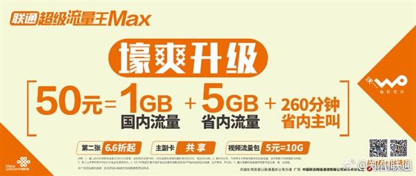 联通推超级流量王MAX套餐:50元/6G流量