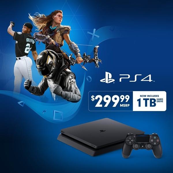索尼推出标配1TB硬盘PS4 Slim主机:售价不变