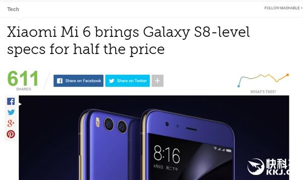 老外怒赞小米6性价高:都是骁龙835比三星S8便宜一半