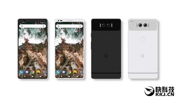 """谷歌Pixel 2概念渲染:把小米MIX""""调个头""""、屏占比更高"""