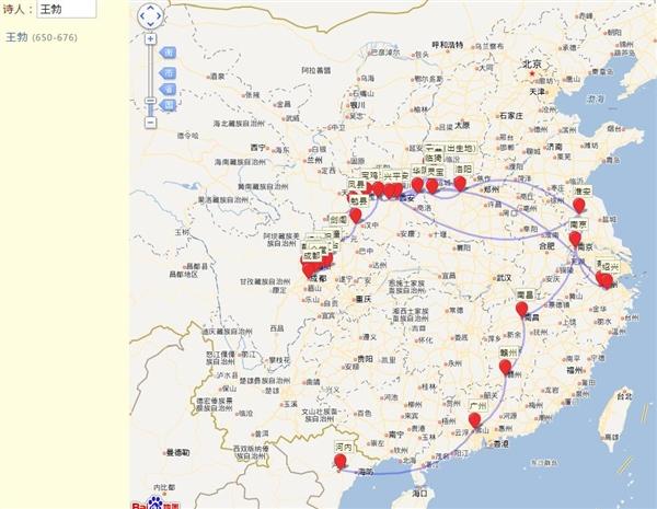 這個網站可以看到古代詩人軌跡地圖 網友:李白這是在打野?