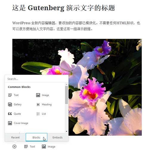WordPerss全新核心编辑器Gutenberg发布