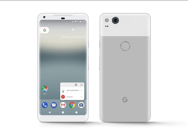首发安卓8.0!谷歌Pixel 2 XL蓝/银/黑色曝光:全面屏+后指纹