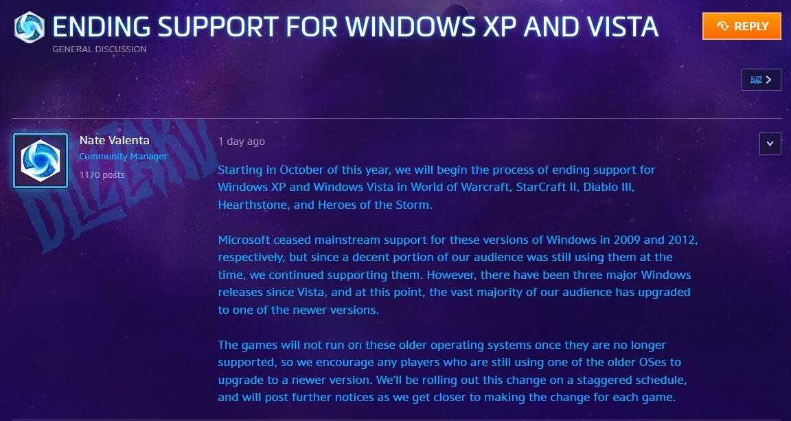 暴雪宣布WOW/星际2/暗黑3等将不在支持Win XP/Vista系统