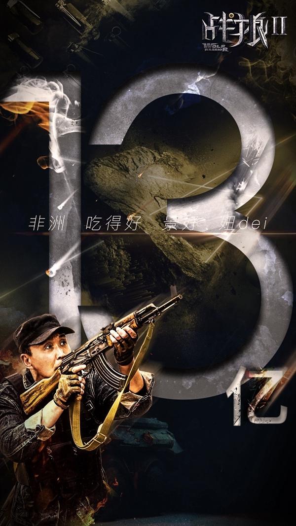 逆天!《战狼2》票房13亿 一天猛增3亿
