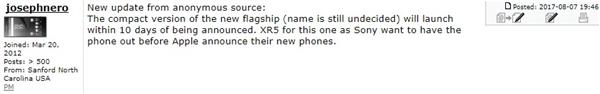 小屏杰作!索尼4.6寸骁龙835旗舰来袭:9月10日开卖