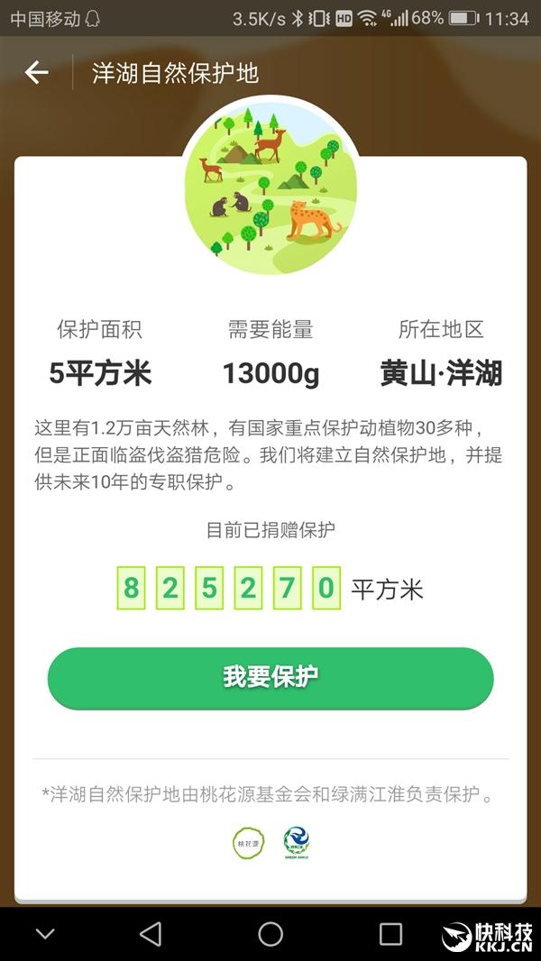 支付宝蚂蚁森林新增自然保护地:只需13kg能量