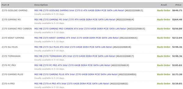 微星九款Z370主板集体亮相:终于看到价格