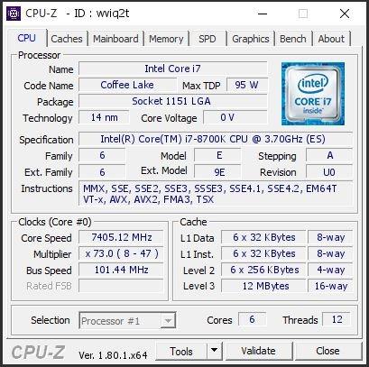 值了!Intel i7-8700K暴超100%:7.45GHz