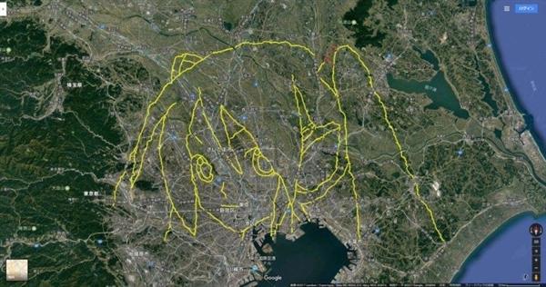 日本宅男步行上千公里 GPS轨迹绘制巨大初音头像