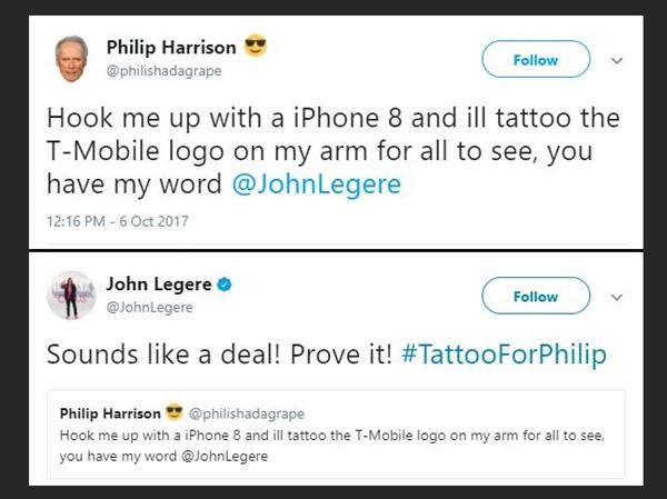 美国小伙纹身运营商LOGO:白得一台iPhone 8