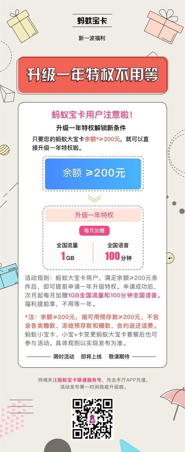 蚂蚁宝卡福利:余额≥200元加赠1GB全国流量