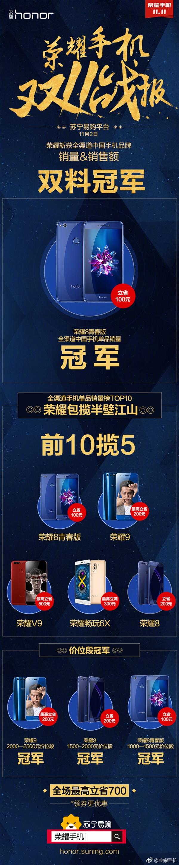 苏宁11月2日战报:荣耀实力霸屏 获销量/销售额双冠军