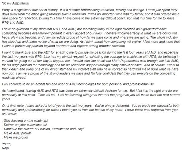 AMD高级副总裁、RTG负责人Raja Koduri辞职