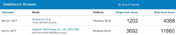 叫板Intel i3!骁龙835 Win10电脑密集现身跑分:运行exe