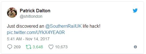 英国网友发现火车上妙开啤酒瓶盖方法:免起子
