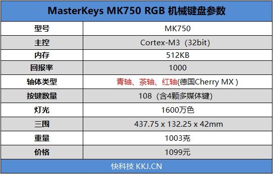 Cherry原厂轴!酷冷至尊MX750机械键盘评测:皮质掌托+1600万色RGB