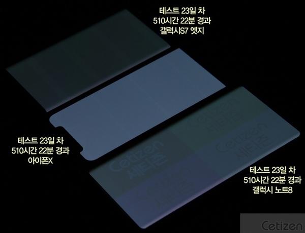 """连续510小时""""烧屏""""测试:iPhone X完胜三星Note 8"""