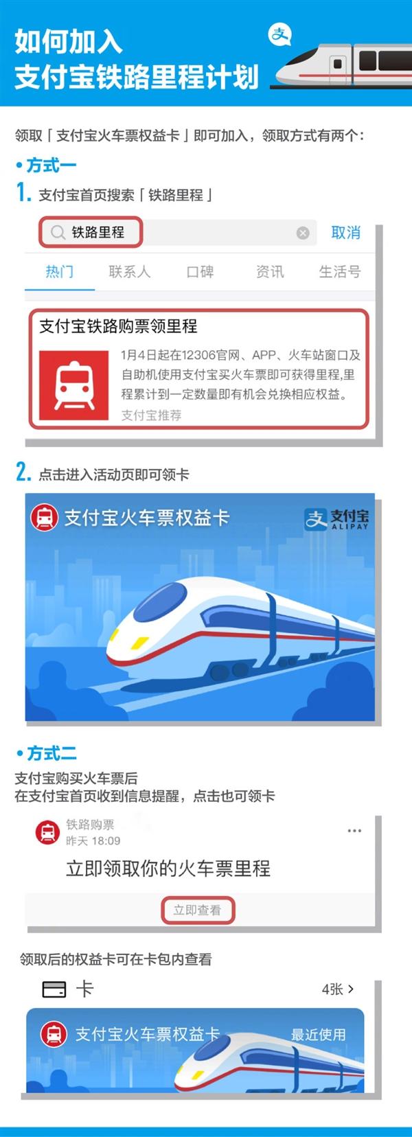 """支付宝上线""""火车票权益卡"""":累积里程可换红包"""