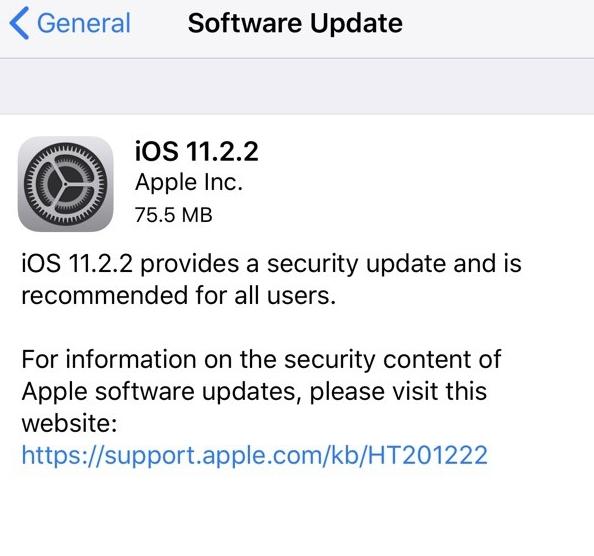 苹果发布iOS 11.2.2:修复安全漏洞 所有设备必升!