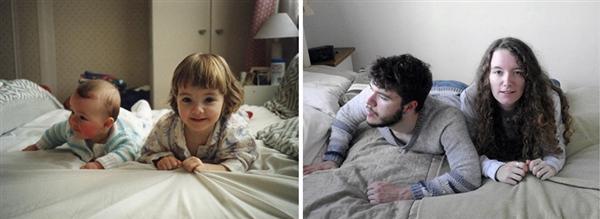 姐弟俩为庆祝父母珍珠婚重拍童年旧照 画面太有爱