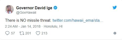 误发警报未及时撤回 夏威夷州长:怪我把密码忘了