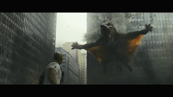 巨石强森《狂暴》新预告 巨兽金刚联手蝙蝠狼