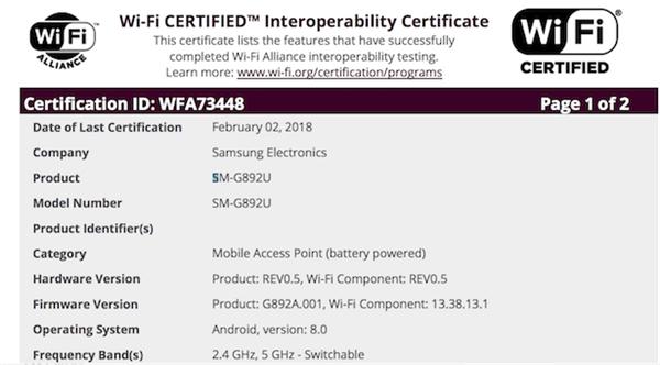 终于来了!三星S8 Active安卓8.0版通过Wi-Fi联盟认证