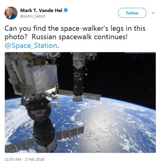 宇航员晒图片让网友犯难:太空中行走双腿找到没