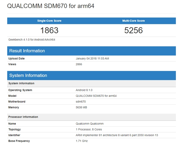 骁龙670详细参数曝光:10nm 2+6核设计、支持UFS 2.1