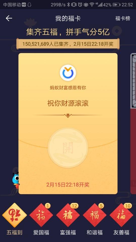 """支付宝""""五福""""已超1.5亿人集齐!平均一人3块3"""