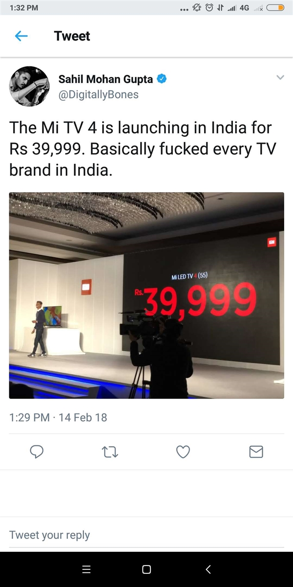 太良心!小米电视4 55英寸印度首发:当地电视要哭了