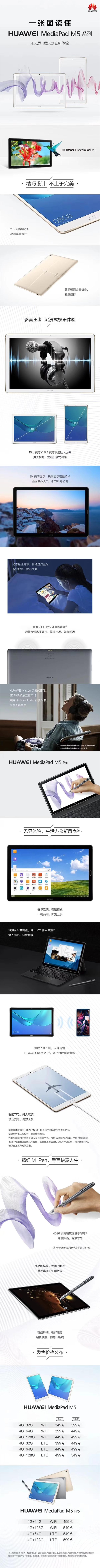三款齐发!一图看懂华为MediaPad M5平板机
