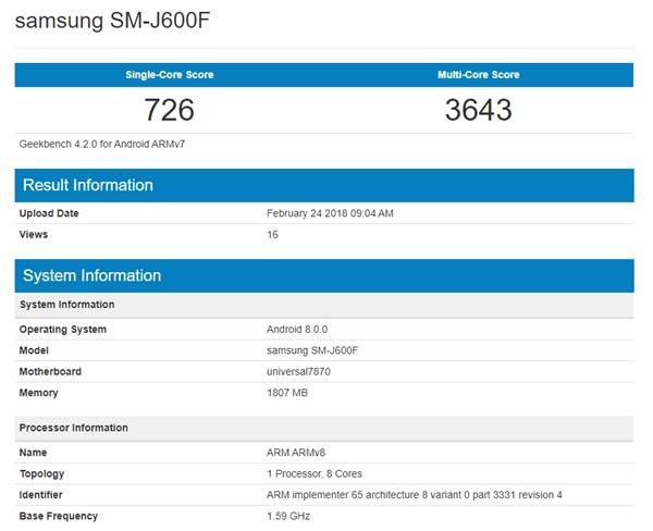 三星Galaxy J6配备2GB内存,在测试中看到运行安卓8.0系统