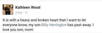 比利海灵顿于2018年3月3日因车祸去世