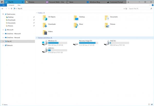 Windows 10 RS5新版17618发布:资源管理器支持多标签