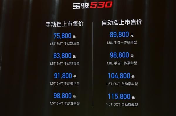 配置给力!宝骏530正式上市:售价7.58-11.58万