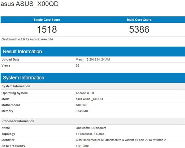华硕ZenFone 5 Max现身GeekBench:骁龙660/4G内存