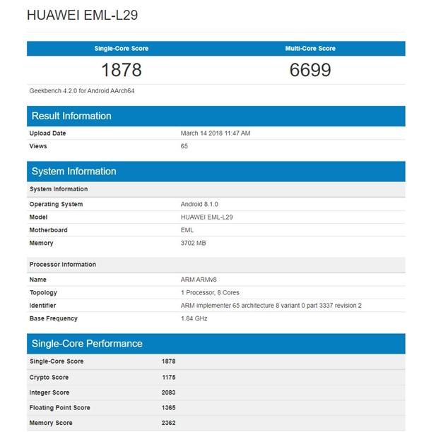 4GB内存+安卓8.1!华为P20跑分首曝:与Mate 10持平