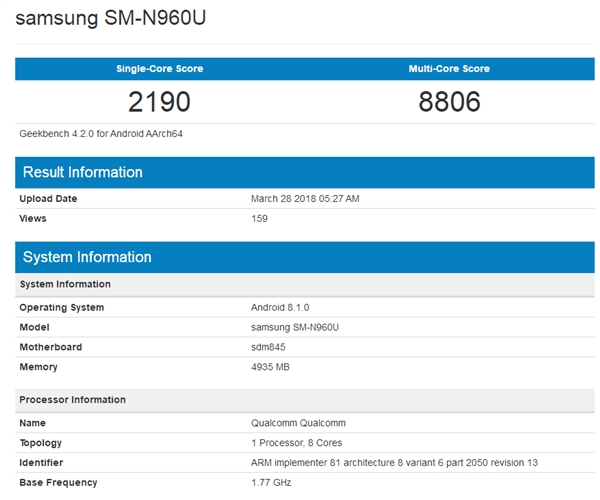 骁龙845+安卓8.1:三星Galaxy Note9现身Geekbench