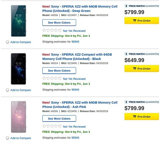 索尼Xperia XZ2/XZ2 Compact登陆美国:4100元