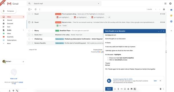 """谷歌Gmail新功能截图曝光:""""自毁邮件""""来了"""