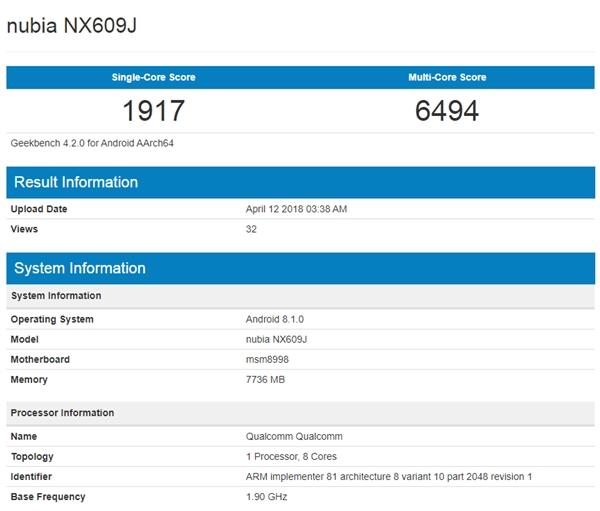 努比亚红魔游戏手机现身GeekBench:骁龙835+8G内存