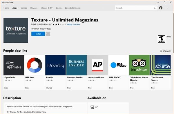 苹果买断阅读软件Texture:Win10版惨遭率先下架