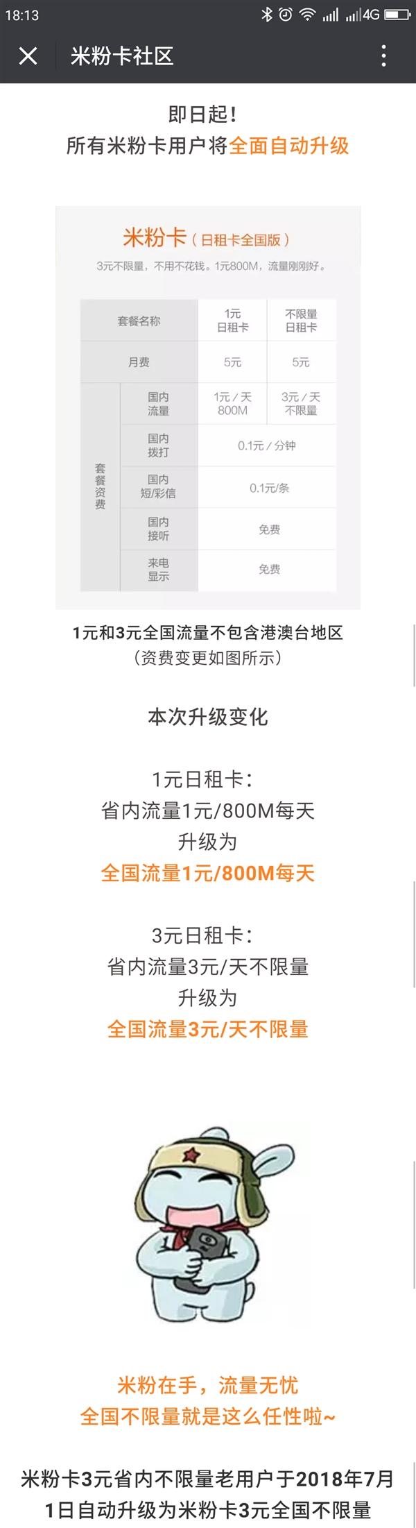 米粉卡升级:3元日租卡升级为全国不限流量