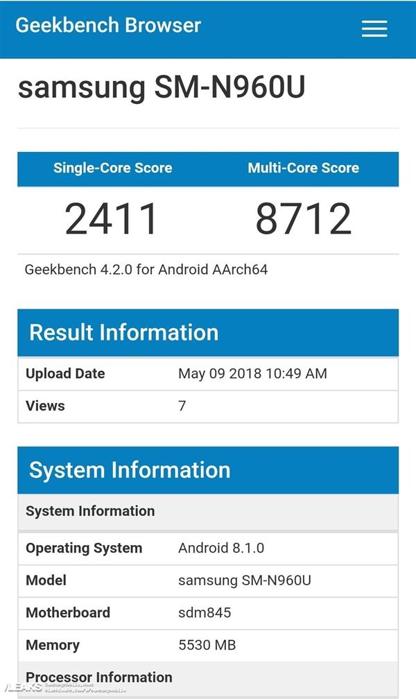 三星Note 9现身!配置曝光:骁龙845+6GB内存