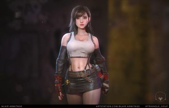 《最终幻想7》蒂法超美建模 这身材和短裙简直完美